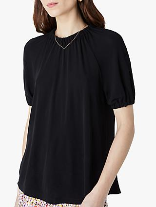 Finery Silbury Gather Neck Jersey Top, Black