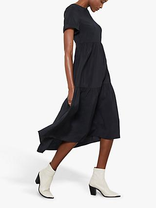 Mint Velvet Tiered Midi Dress, Black