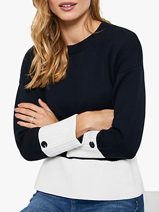 Mint Velvet Colour Block Jumper, Dark Blue