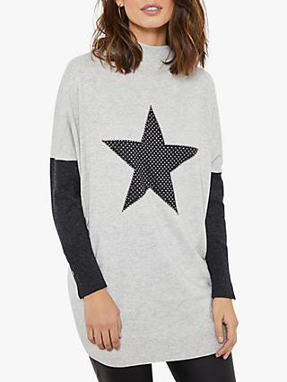 Mint Velvet Studded Star Knit Tunic Jumper, Light Grey