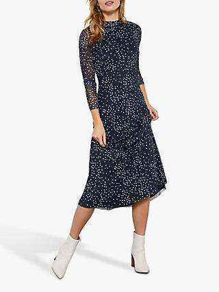 Mint Velvet Spot Mesh Midi Dress, Navy