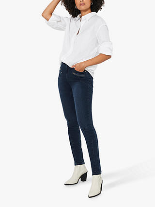 Buy Mint Velvet Denver Skinny Biker Jeans, Dark Blue, 6S Online at johnlewis.com