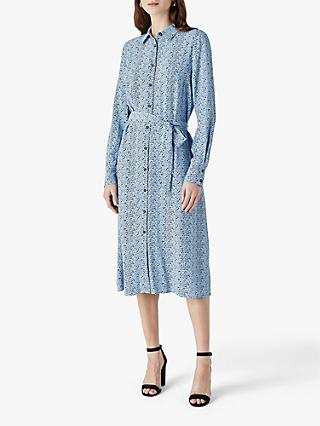 Finery Cherbury Mini Spot Shirt Dress, Blue