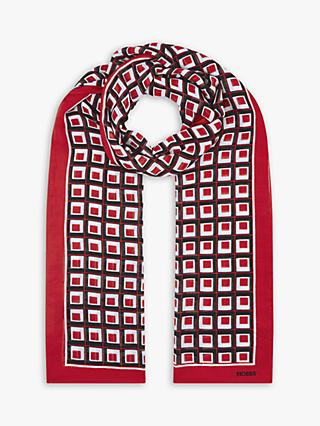 Hobbs Cammy Check Print Scarf, Red/Black