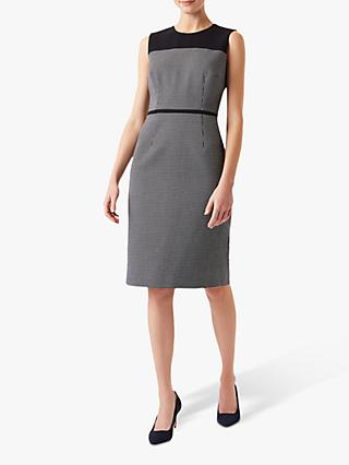 Hobbs Petite Brianna Tweed Dress, Navy/Ivory