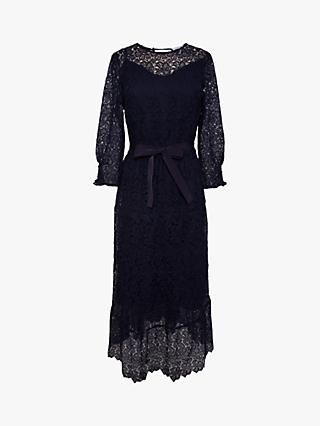Gerard Darel Sveva Floral Lace Asymmetric Midi Dress, Navy