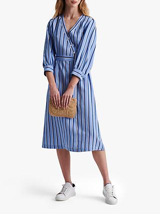 Gerard Darel Sandy Stripe Wrap Midi Dress, Blue
