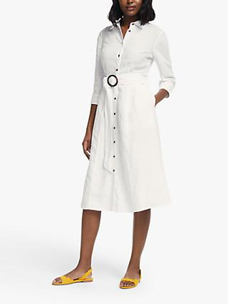 Boden Olivia Belted Shirt Dress, White