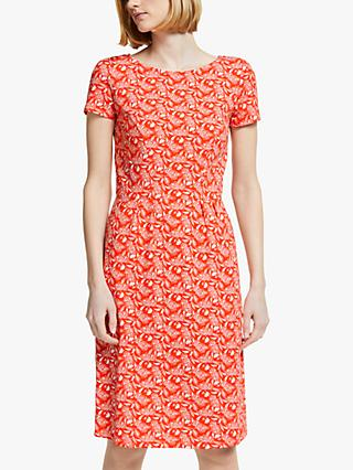 Boden Phoebe Short Sleeve Jungle Dress, Orange Sunset