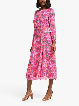 Boden Ingrid Midi Dress, Party Pink/Swish