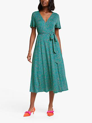 Boden Cassia Spotted Midi Dress, Vibrant Teal/Speckle