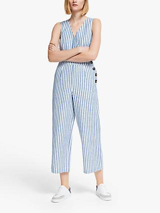 Boden Dorothea Sleeveless V-Neck Stripped Jumpsuit, Blue Ivory Stripe