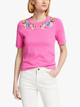 Boden Gowrie Floral Knitted Tee, Pop Pansy