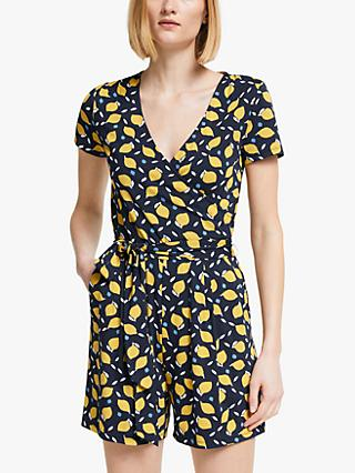 Boden Caroline Short Sleeve V-Neck Graphic Print Playsuit, Navy/Lemon Fruit