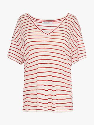 Gerard Darel Jealys Stripe Linen T-Shirt, Red