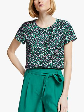 Boden Carey Spotted Top, Navy/Emerald