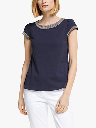 Boden Sena Embroidered Jersey Top, Navy/Gold