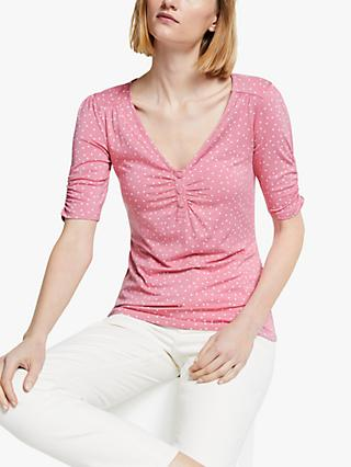 Boden Jane Spotted Jersey Top, Pink/White
