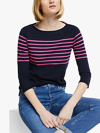Boden Dolores Breton Striped Top, Navy/Festival Pink