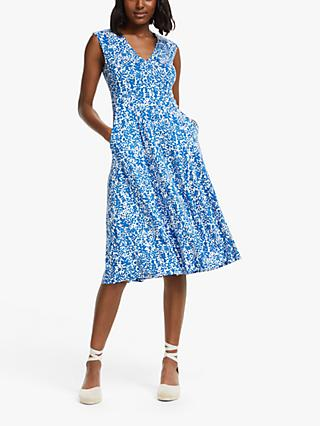 Boden Odilie Floral Jersey Dress, Blue/White
