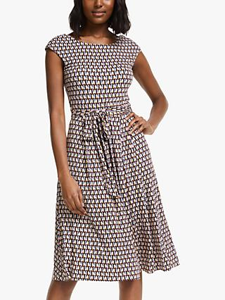 Boden Esmeralda Abstract Print Midi Dress, Milkshake/Façade