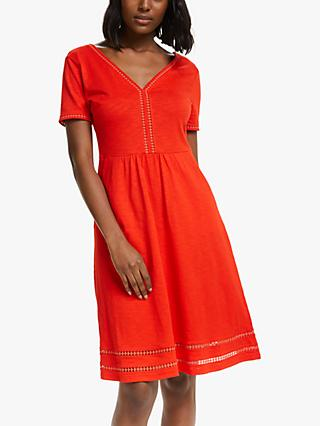 Boden Carmen Jersey Mini Dress, Orange Sunset