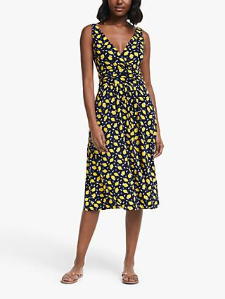 Boden Effie Jersey Sleeveless V-Neck Graphic Print Midi Dress, Navy/Lemon Fruit