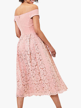 Buy Oasis Lace Skirt Bardot Midi Dress, Pale Pink, 14 Online at johnlewis.com