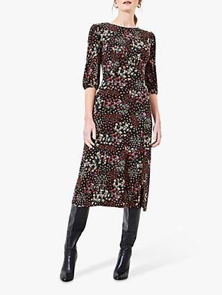 Oasis Mixed Ditsy Floral Dress, Black/Multi