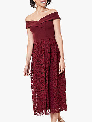 Buy Oasis Lace Skirt Bardot Midi Dress, Burgundy, 14 Online at johnlewis.com