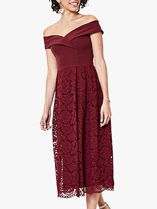 Oasis Lace Skirt Bardot Midi Dress