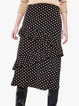 Oasis Spot Print Tiered Midi Skirt, Black/Multi