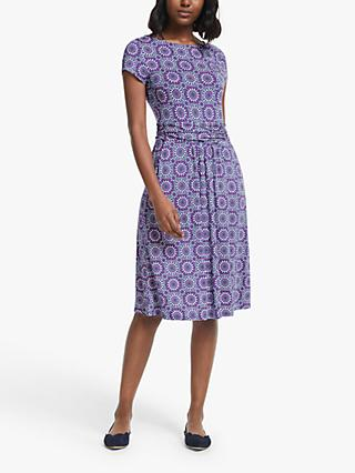 Boden Amelie Geometric Print Midi Dress, Renaissance Blue