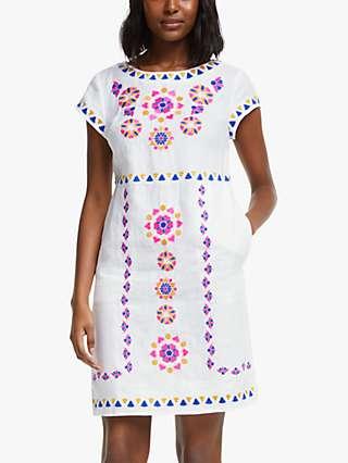 Boden Laura Linen Mini Dress, White