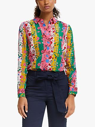 Boden Floral Stripe Silk Shirt, Bright Camelia