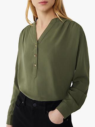 Warehouse Long Sleeve Overhead Button Top, Khaki