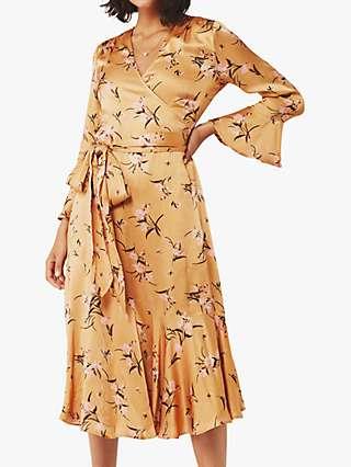 Ghost Idris Floral Satin Wrap Dress, Orange