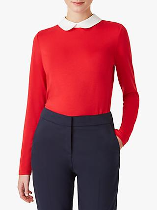 Hobbs Sasha Collar Top, Red/Ivory