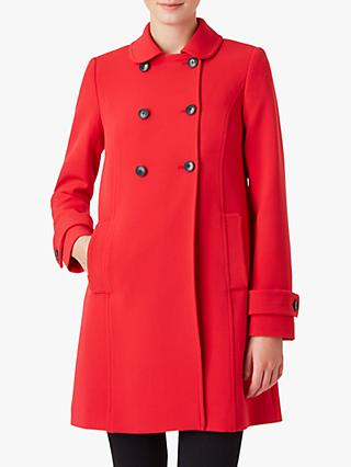 Hobbs Adrienne Double Breasted Pea Coat, Bright Red