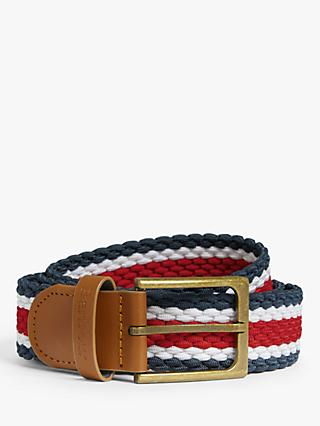 Barbour Striped Webbing Leather Trim Belt, Navy/White/Red