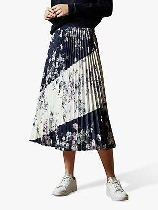 Ted Baker Riitta Pergola Printed Pleat Skirt, Navy