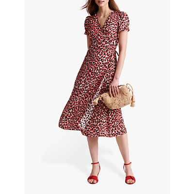 Gerard Darel Sara Leopard Print Wrap Dress, Red/Multi