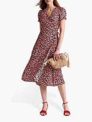 Gerard Darel Sara Leopard Print Wrap Dress, Red/Multi