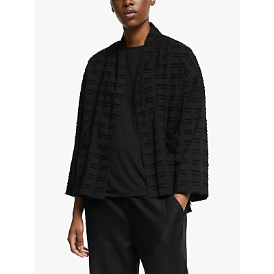 eileen fisher shadow square cotton jacket, black