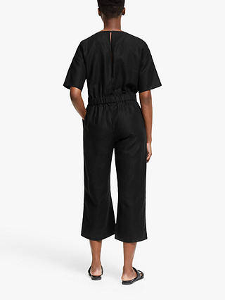Buy EILEEN FISHER V-Neck Cropped Jumpsuit, Black, L Online at johnlewis.com
