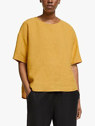 EILEEN FISHER Organic Linen Box Top, Marigold