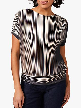 Phase Eight Pacey Pleated Jersey Top, Champagne/Navy
