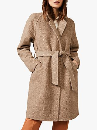 Phase Eight Dalma Double Faced Herringbone Coat, Stone