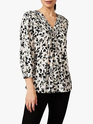Phase Eight Larissa Leaf Print Blouse, Ivory/Multi