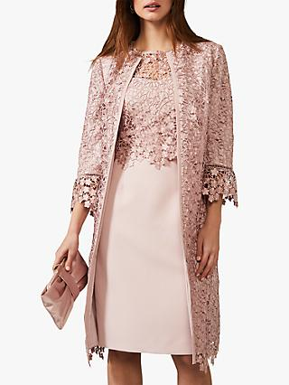 Phase Eight Mariposa Lace Coat, Antique Rose